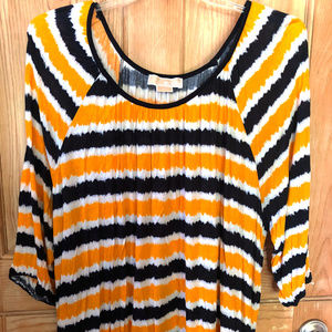 Yellow Black White Stripe Michael Kors 3X Tee